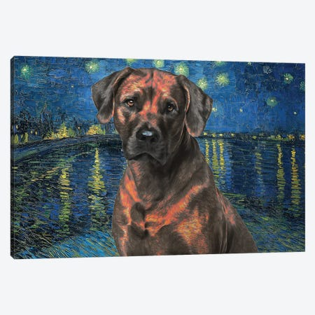 Rhodesian Ridgeback Starry Night Over The Rhone Canvas Print #NDG1136} by Nobility Dogs Canvas Artwork