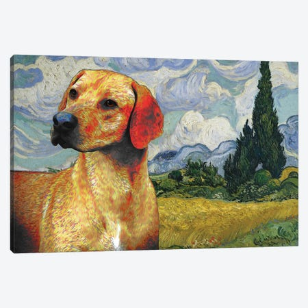 Rhodesian Ridgeback Wheat Field With Cypresses Canvas Print #NDG1137} by Nobility Dogs Canvas Art