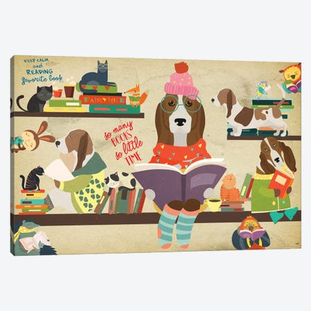 Basset Hound Book Time Canvas Print #NDG1140} by Nobility Dogs Canvas Artwork