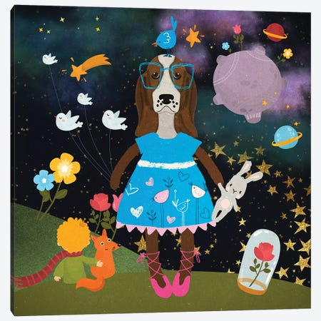 Basset Hound Cute Little Blue Princess Canvas Print #NDG1141} by Nobility Dogs Canvas Wall Art