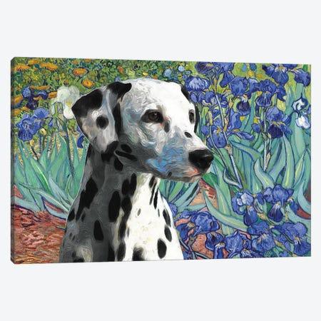 Dalmatian Dog Irises Canvas Print #NDG114} by Nobility Dogs Art Print