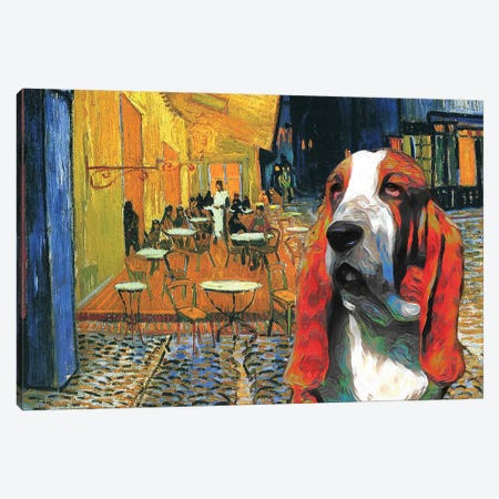 Basset Hound Café Terrace At Night Canvas Print #NDG1152} by Nobility Dogs Canvas Art Print