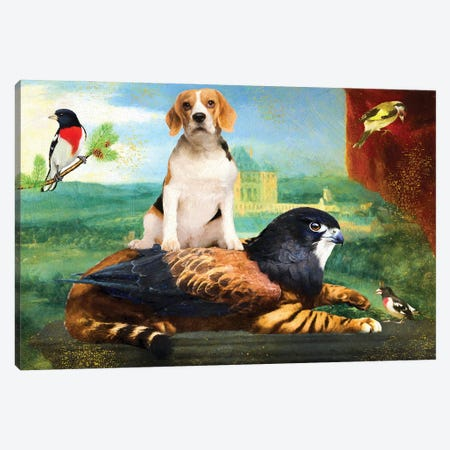 Beagle And Griffin Canvas Print #NDG1158} by Nobility Dogs Canvas Print