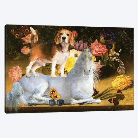 Beagle And Unicorn Canvas Print #NDG1159} by Nobility Dogs Canvas Art Print