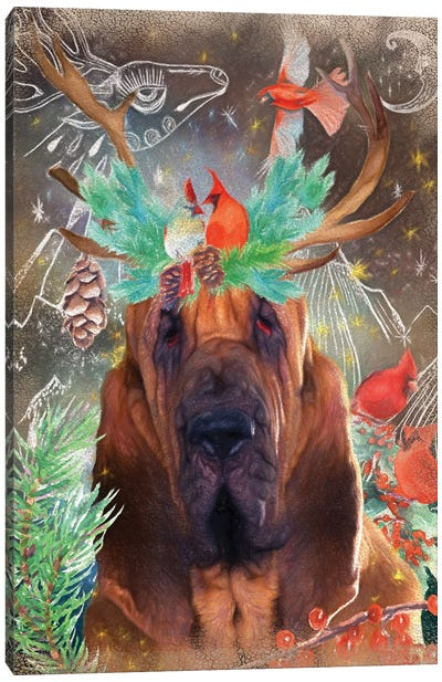 Bloodhound With Antlers And Cardinals Canvas Art Print