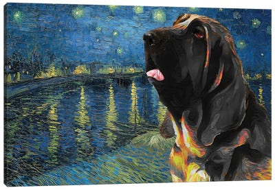 Bloodhound Starry Night Over The Rhone Canvas Art Print
