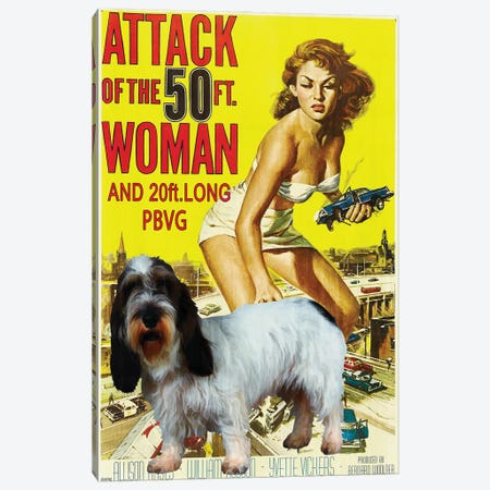Petit Basset Attack Of The 50Ft Woman Canvas Print #NDG1168} by Nobility Dogs Canvas Art
