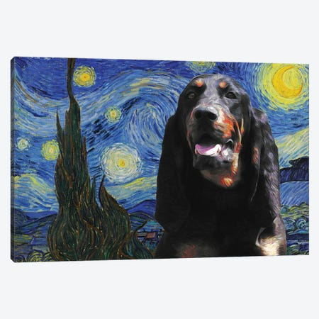 Black And Tan Coonhound The Starry Night Canvas Print #NDG1169} by Nobility Dogs Canvas Wall Art