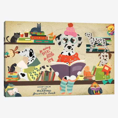 Dalmatian Dog Book Time Canvas Print #NDG1175} by Nobility Dogs Canvas Art