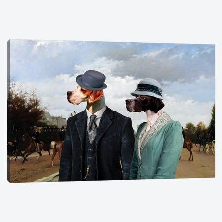 English Pointer Paris Avenue Canvas Print #NDG1185} by Nobility Dogs Art Print