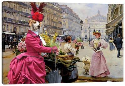 English Pointer Flower Merchant Canvas Art Print