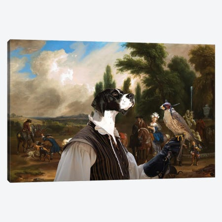 English Pointer Landscape With Elegant Figures Canvas Print #NDG1189} by Nobility Dogs Canvas Artwork