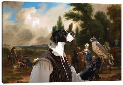 English Pointer Landscape With Elegant Figures Canvas Art Print