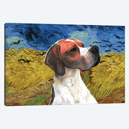 English Pointer Wheatfield With Crows Canvas Print #NDG1192} by Nobility Dogs Canvas Art Print