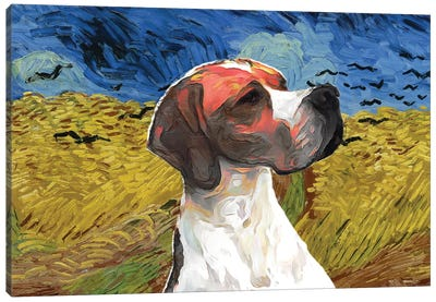English Pointer Wheatfield With Crows Canvas Art Print