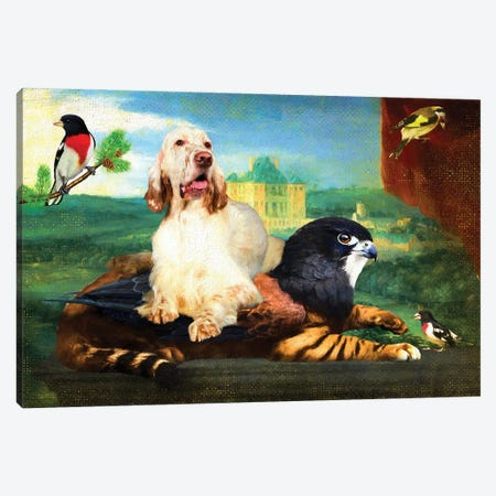 English Setter Still Life Of Griffin And Red Drapery Canvas Print #NDG1194} by Nobility Dogs Canvas Artwork