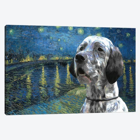 English Setter Starry Night Over The Rhone Canvas Print #NDG1196} by Nobility Dogs Canvas Artwork