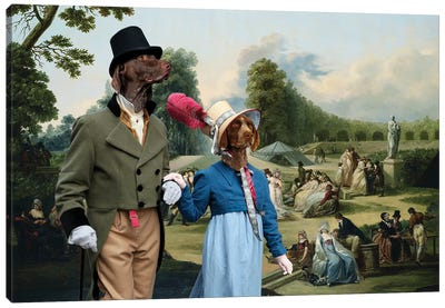 German Shorthaired Pointer The Summer Party Canvas Art Print