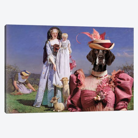 German Shorthaired Pointer The Pretty Baa Lambs Canvas Print #NDG1204} by Nobility Dogs Canvas Wall Art