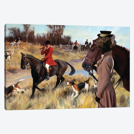 German Shorthaired Pointer Fox Hunt Canvas Print #NDG1205} by Nobility Dogs Canvas Artwork