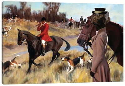 German Shorthaired Pointer Fox Hunt Canvas Art Print