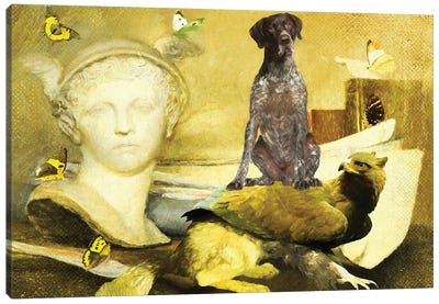 German Shorthaired Pointer And Griffin Canvas Art Print