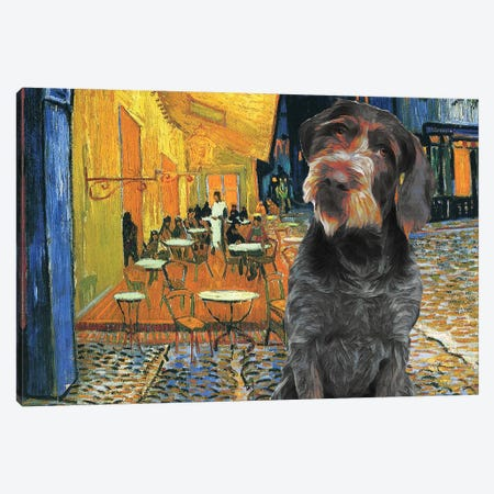 German Wirehaired Pointer Café Terrace At Night Canvas Print #NDG1216} by Nobility Dogs Canvas Art Print
