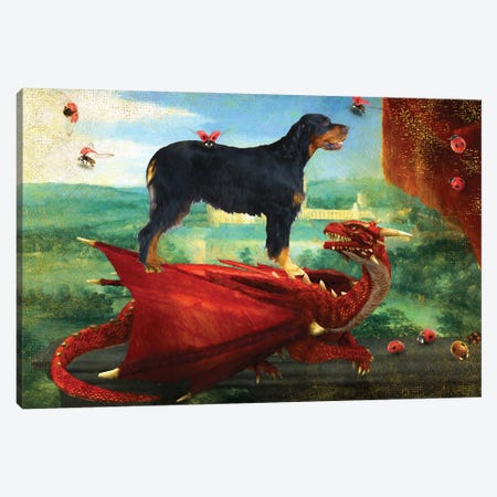 Gordon Setter And Red Dragon Canvas Print #NDG1220} by Nobility Dogs Canvas Print