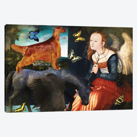 Irish Setter, Angel And Black Pegasus Canvas Print #NDG1221} by Nobility Dogs Canvas Print