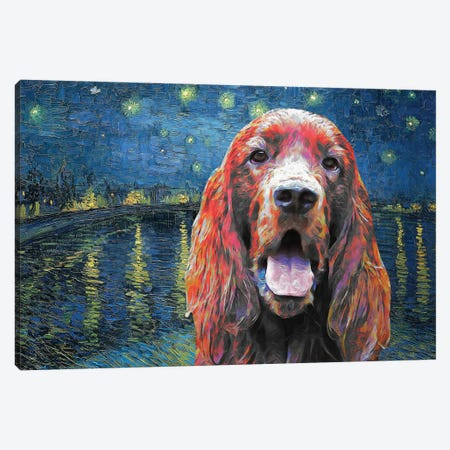 Irish Setter Starry Night Over The Rhone Canvas Print #NDG1222} by Nobility Dogs Art Print