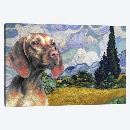 Vizsla Wheat Field With Cypresses Canvas Print #NDG1229} by Nobility Dogs Canvas Art Print