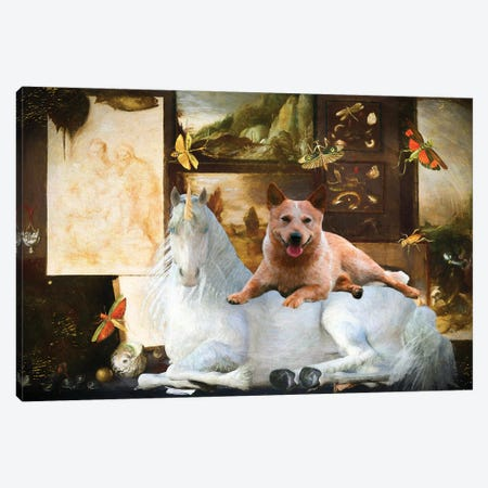 Australian Cattle Dog With Unicorn Canvas Print #NDG1278} by Nobility Dogs Canvas Artwork