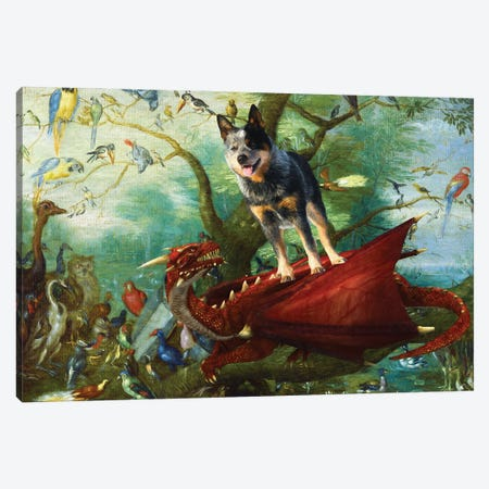 Australian Cattle Dog Concert Of Birds Canvas Print #NDG1279} by Nobility Dogs Canvas Art