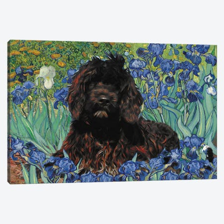 Portuguese Water Dog Irises Canvas Print #NDG127} by Nobility Dogs Canvas Wall Art