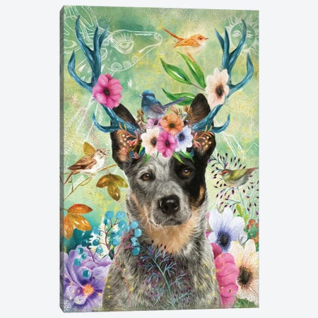 Australian Cattle Dog With Antlers Canvas Print #NDG1280} by Nobility Dogs Art Print