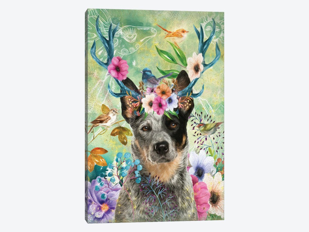 Australian Cattle Dog With Antlers by Nobility Dogs 1-piece Canvas Art
