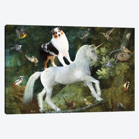 Australian Shepherd A Forest Landscape Canvas Print #NDG1288} by Nobility Dogs Canvas Print