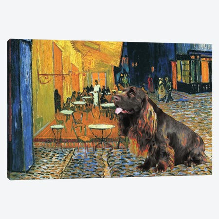 Sussex Spaniel Cafe Terrace At Night Canvas Print #NDG128} by Nobility Dogs Art Print