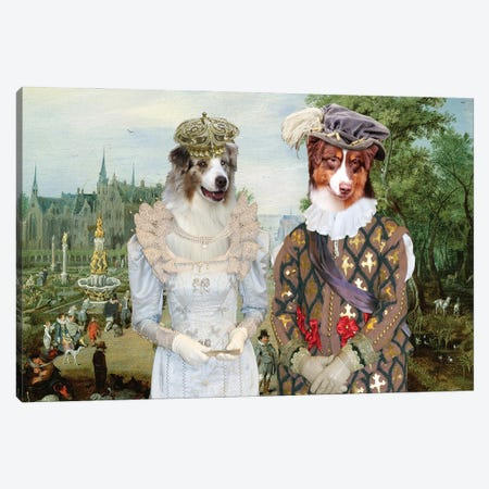 Australian Shepherd Royal Couple Canvas Print #NDG1293} by Nobility Dogs Canvas Art