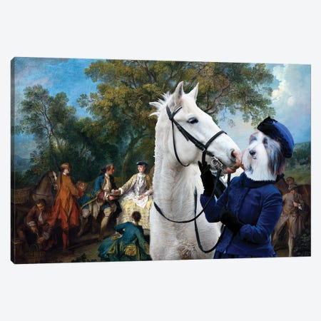Bearded Collie Hunter's Picnic Canvas Print #NDG1298} by Nobility Dogs Canvas Wall Art