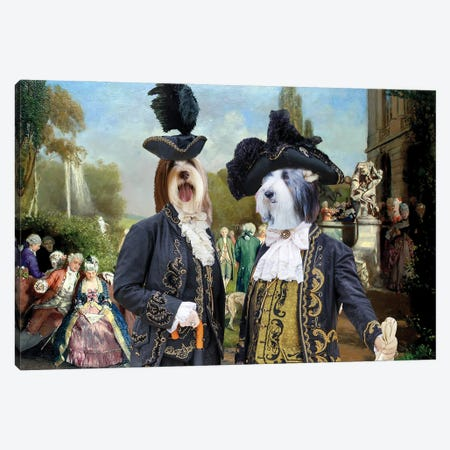 Bearded Collie The Garden Royal Party Canvas Print #NDG1299} by Nobility Dogs Canvas Artwork