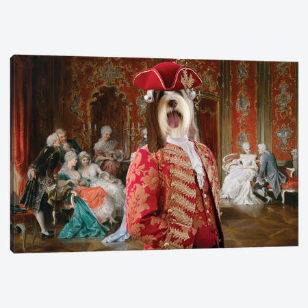 Bearded Collie Gossip In The Salon Canvas Print #NDG1300} by Nobility Dogs Canvas Wall Art