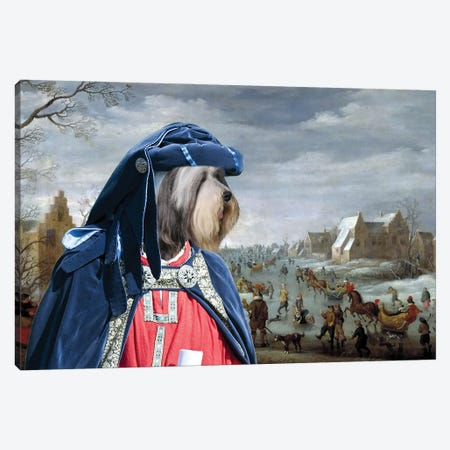 Bearded Collie Skating On Ice Canvas Print #NDG1301} by Nobility Dogs Canvas Artwork