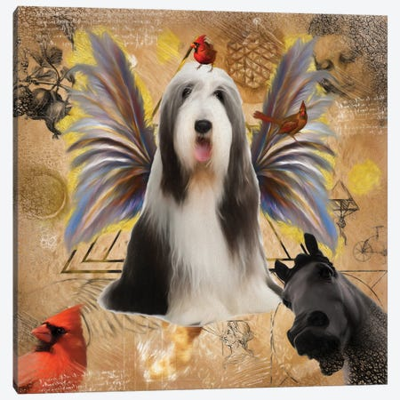 Bearded Collie Angel Canvas Print #NDG1302} by Nobility Dogs Canvas Wall Art