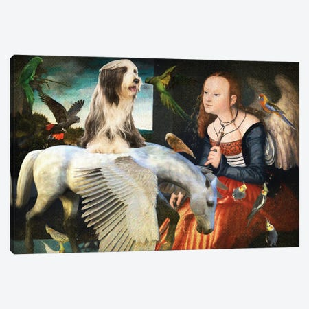 Bearded Collie, Angel And Pegasus Canvas Print #NDG1303} by Nobility Dogs Canvas Artwork