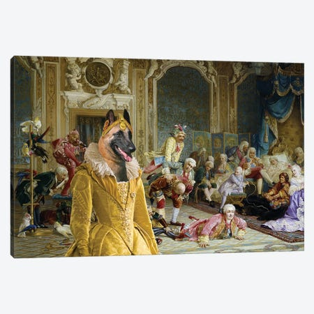 Belgian Malinois The Queen And Her Fools Canvas Print #NDG1309} by Nobility Dogs Canvas Art
