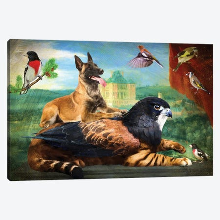 Belgian Malinois And Griffin Canvas Print #NDG1311} by Nobility Dogs Canvas Art Print