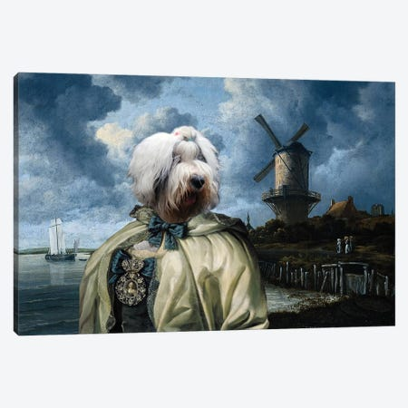 Old English Sheepdog The Windmill And Lady Canvas Print #NDG1313} by Nobility Dogs Canvas Art Print