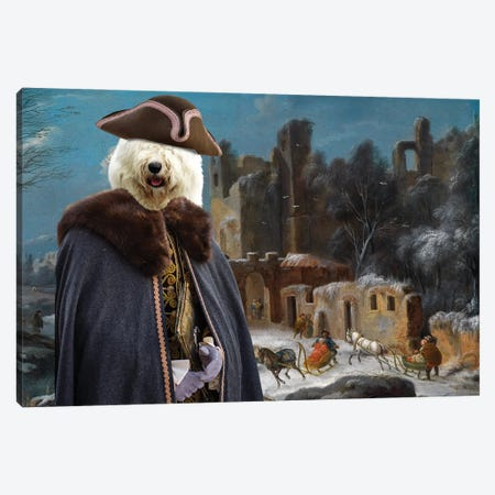 Old English Sheepdog A Winter Landscape With Travelers Canvas Print #NDG1314} by Nobility Dogs Canvas Wall Art