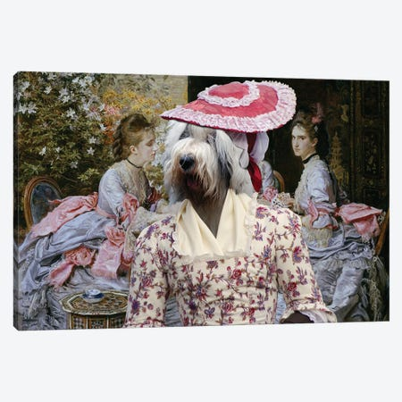 Old English Sheepdog Hearts Are Trumps Canvas Print #NDG1316} by Nobility Dogs Canvas Wall Art